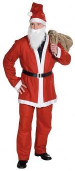 Samichlaus Weihnachtskostüm: Nikolaus 5teilig mit Bart und Mütze:rot