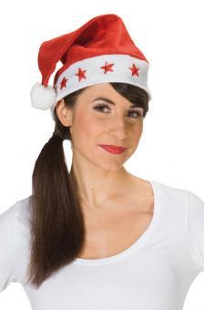 Weihnachtsmütze blinkende Sterne:natur One size