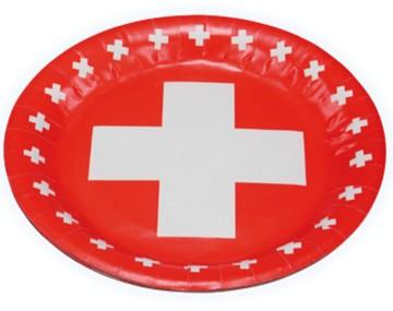 Schweizer Kreuz Partyteller für 1. August Deko:8 Stück, 23cm, rot