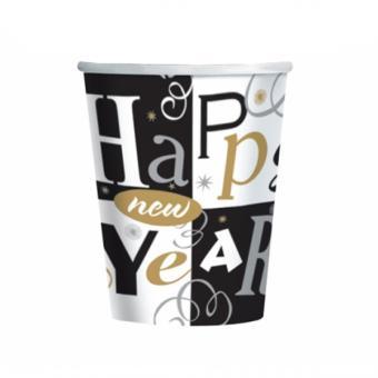 Becher Happy New Year:8 Stück, 266 ml, schwarz/weiss