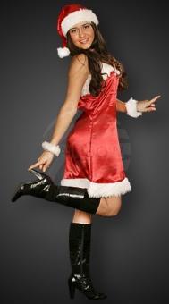 Weihnachtskostüm Miss Santa: Kostüm Damen 4-teilig: