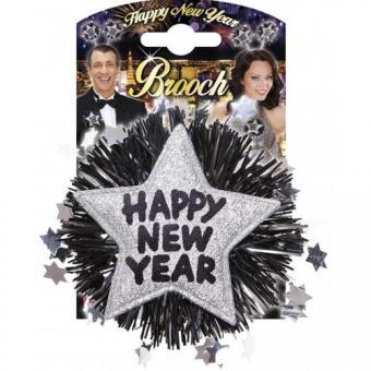 Brosche:Happy New Year:7 x 7 cm, silber