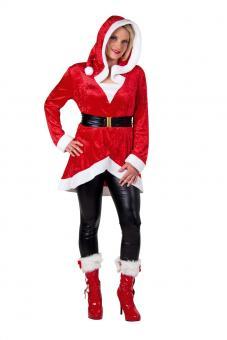 Weihnachtskostüm Miss Santa: Kapuzentunika mit Gürtel:rot