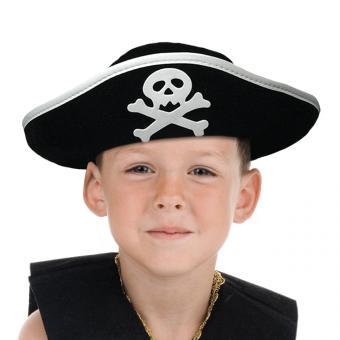Kinder Piratenhut mit Totenkopf:One Size, schwarz