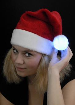 Samichlaus Mütze: Weihnachts-Plüschmütze mit Leucht-Pompon: