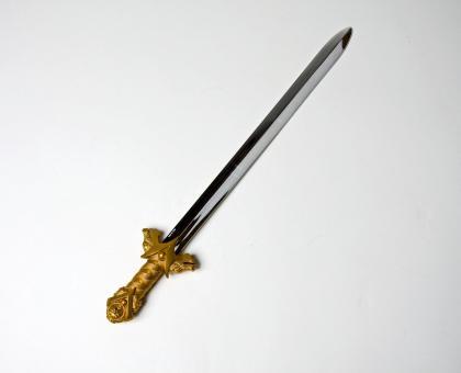 Ritterschwert mit Goldgriff:64 cm, silber