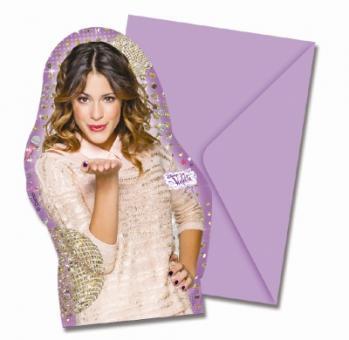Violetta Party Einladungskarten:6 Stück, 9 cm x 14 cm, lila