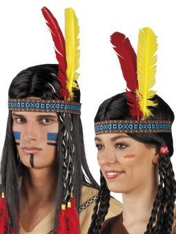 Indianer Stirnband mit Federn:mehrfarbig