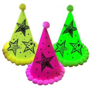 Neon Partyhüte:3 Stück, 16 x 11.5 cm, neonfarben