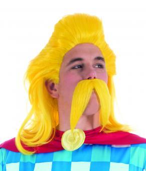 Troubadix Perücke und Bart :gelb