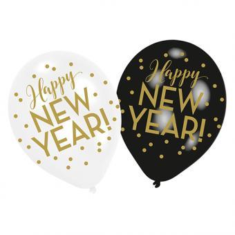 Ballone Happy New Year:6 Stück, 25 cm, schwarz/weiss