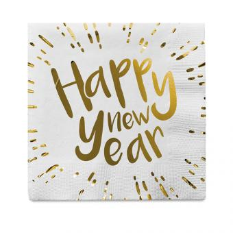 Servietten 'Happy New Year' :12 Stück, 33 x 33 cm, weiss