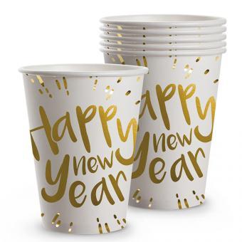 Becher 'Happy New Year':6Stück, 25 cl, weiss