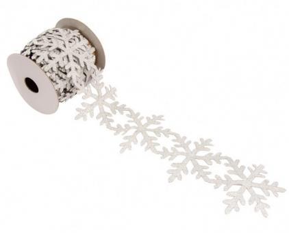 Dekorationsband mit Schneeflocken:3m x 6cm, silber