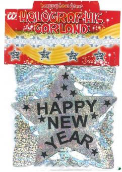 Silvester Girlande Happy New Year :3m, silber