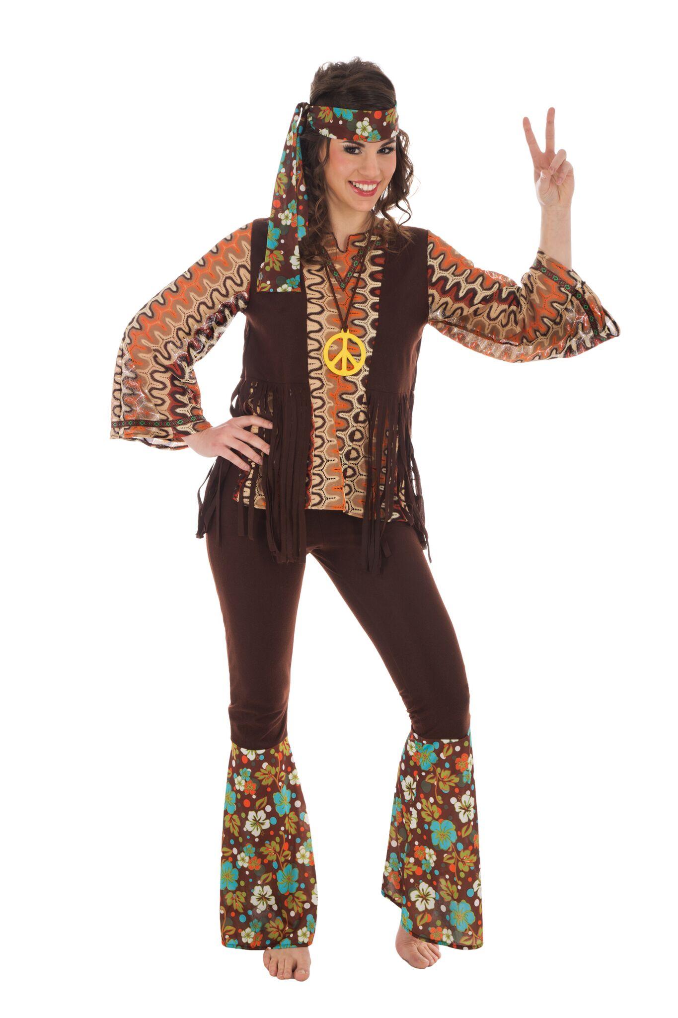 hippie kostüm damen flower power outfit grösse s, mehrfarbig