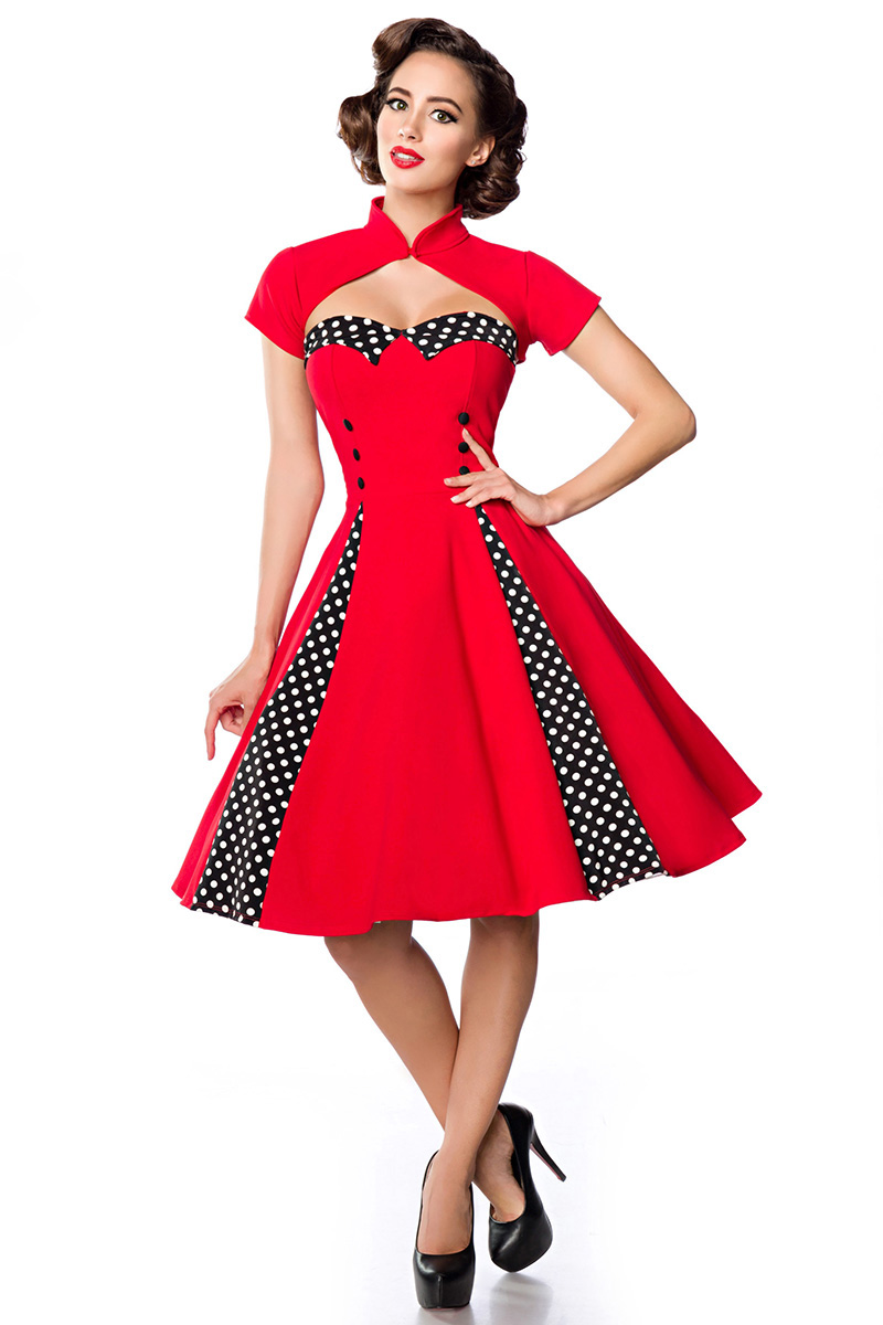 50er 60er Jahre Vintage Kleid Mit Bolero Rot Schwarz Weiss